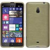 Silikon Hülle Nokia Lumia 1320 brushed gold + 2 Schutzfolien
