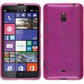 Silikon Hülle Nokia Lumia 1320 brushed pink + 2 Schutzfolien