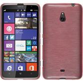 Silikon Hülle Nokia Lumia 1320 brushed rosa + 2 Schutzfolien