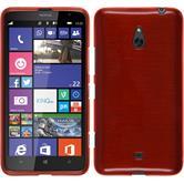 Silikon Hülle Nokia Lumia 1320 brushed rot + 2 Schutzfolien