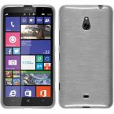 Silikon Hülle Nokia Lumia 1320 brushed weiß + 2 Schutzfolien