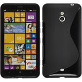 Silikon Hülle Nokia Lumia 1320 S-Style schwarz + 2 Schutzfolien