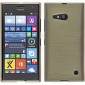 Silikon Hülle Nokia Lumia 730 brushed gold + 2 Schutzfolien