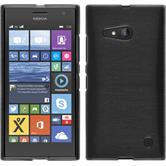 Silikon Hülle Nokia Lumia 730 brushed silber + 2 Schutzfolien