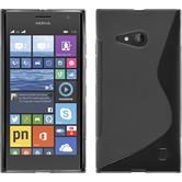 Silikon Hülle Nokia Lumia 730 S-Style grau + 2 Schutzfolien