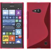 Silikon Hülle Nokia Lumia 730 S-Style pink + 2 Schutzfolien