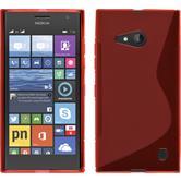 Silikon Hülle Nokia Lumia 730 S-Style rot + 2 Schutzfolien