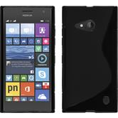 Silikon Hülle Nokia Lumia 730 S-Style schwarz + 2 Schutzfolien