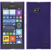 Silikon Hülle Nokia Lumia 730 transparent lila + 2 Schutzfolien