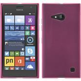 Silikon Hülle Nokia Lumia 730 transparent rosa + 2 Schutzfolien