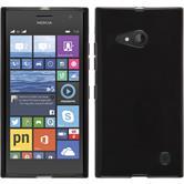 Silikon Hülle Nokia Lumia 730 transparent schwarz + 2 Schutzfolien