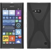 Silikon Hülle Nokia Lumia 730 X-Style grau + 2 Schutzfolien