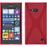 Silikon Hülle Nokia Lumia 730 X-Style pink + 2 Schutzfolien