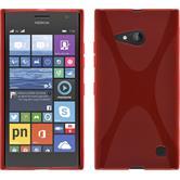 Silikon Hülle Nokia Lumia 730 X-Style rot + 2 Schutzfolien