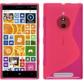 Silikon Hülle Nokia Lumia 830 S-Style pink + 2 Schutzfolien