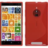 Silikon Hülle Nokia Lumia 830 S-Style rot + 2 Schutzfolien