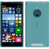 Silikon Hülle Nokia Lumia 830 transparent türkis + 2 Schutzfolien