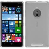 Silikon Hülle Nokia Lumia 830 transparent weiß + 2 Schutzfolien