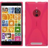 Silikon Hülle Nokia Lumia 830 X-Style pink + 2 Schutzfolien