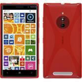 Silikon Hülle Nokia Lumia 830 X-Style rot + 2 Schutzfolien
