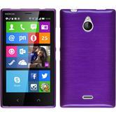 Silikon Hülle Nokia X2 brushed lila + 2 Schutzfolien
