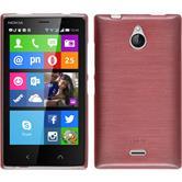 Silikon Hülle Nokia X2 brushed rosa + 2 Schutzfolien