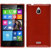 Silikon Hülle Nokia X2 brushed rot + 2 Schutzfolien