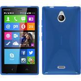 Silikon Hülle Nokia X2 X-Style blau + 2 Schutzfolien