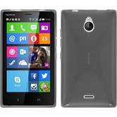 Silikon Hülle Nokia X2 X-Style grau + 2 Schutzfolien