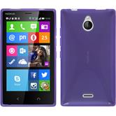 Silikon Hülle Nokia X2 X-Style lila + 2 Schutzfolien