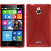 Silikon Hülle Nokia X2 X-Style rot + 2 Schutzfolien