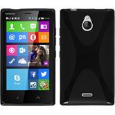 Silikon Hülle Nokia X2 X-Style schwarz + 2 Schutzfolien