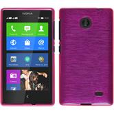 Silicone Case for Nokia X / X+ brushed hot pink