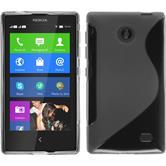 Silikon Hülle Nokia X / X+ S-Style grau + 2 Schutzfolien