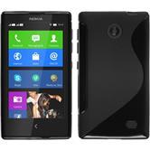 Silikon Hülle Nokia X / X+ S-Style schwarz + 2 Schutzfolien