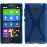 Silikon Hülle Nokia X / X+ X-Style blau + 2 Schutzfolien