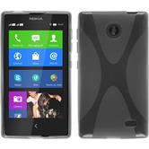 Silikon Hülle Nokia X / X+ X-Style grau + 2 Schutzfolien