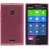 Silikon Hülle Nokia XL transparent rosa + 2 Schutzfolien