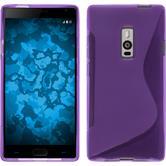 Silikon Hülle OnePlus 2 S-Style lila + 2 Schutzfolien