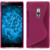 Silikon Hülle OnePlus 2 S-Style pink + 2 Schutzfolien