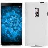 Silikon Hülle OnePlus 2 S-Style weiß + 2 Schutzfolien