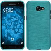 Silikon Hülle Galaxy A3 2017 brushed blau + 2 Schutzfolien