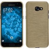 Silikon Hülle Galaxy A3 2017 brushed gold + 2 Schutzfolien