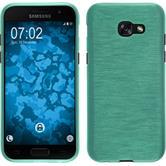 Silikon Hülle Galaxy A3 2017 brushed grün + 2 Schutzfolien