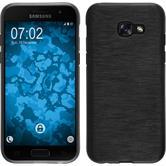 Silikon Hülle Galaxy A3 2017 brushed silber + 2 Schutzfolien