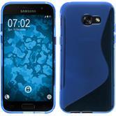 Silikon Hülle Galaxy A3 2017 S-Style blau + 2 Schutzfolien