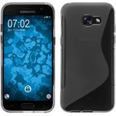 Silikon Hülle Galaxy A3 2017 S-Style grau + 2 Schutzfolien
