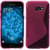 Silikon Hülle Galaxy A3 2017 S-Style pink + 2 Schutzfolien