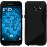 Silikon Hülle Galaxy A3 2017 S-Style schwarz + 2 Schutzfolien