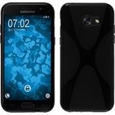 Silikon Hülle Galaxy A3 2017 X-Style schwarz + 2 Schutzfolien